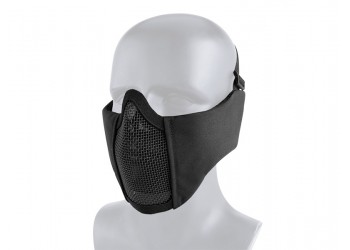 TACTICAL MESH MASK WITH EAR PROTECTION - BLACK