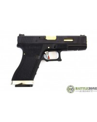 WE E FORCE CUSTOM G17 EU17 GBB PISTOL - BLACK AND GOLD