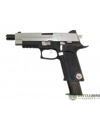 WE F226 P VIRUS GBB PISTOL WITH LED CASE - BLACK/SILVER
