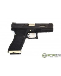 WE E FORCE CUSTOM G17 EU17 GBB PISTOL - BLACK AND SILVER