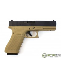 WE GLOCK 17 G17 EU17 GEN4 GBB PISTOL - BLACK AND TAN