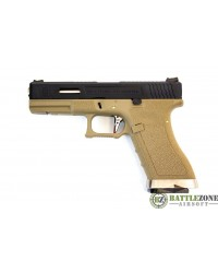 WE E FORCE CUSTOM G17 EU17 GBB PISTOL - TAN AND BLACK
